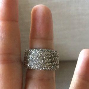 Sterling Silver ring entirety set stones